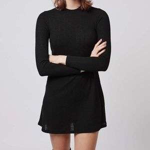 TopShop Ribbed black long sleeve dress